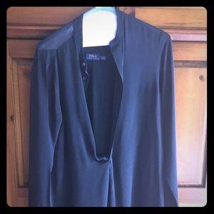 Ralph Lauren navy long sleeved blouse